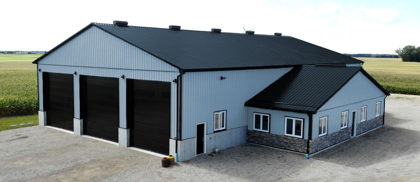 roof: black - siding: blue - doors: black