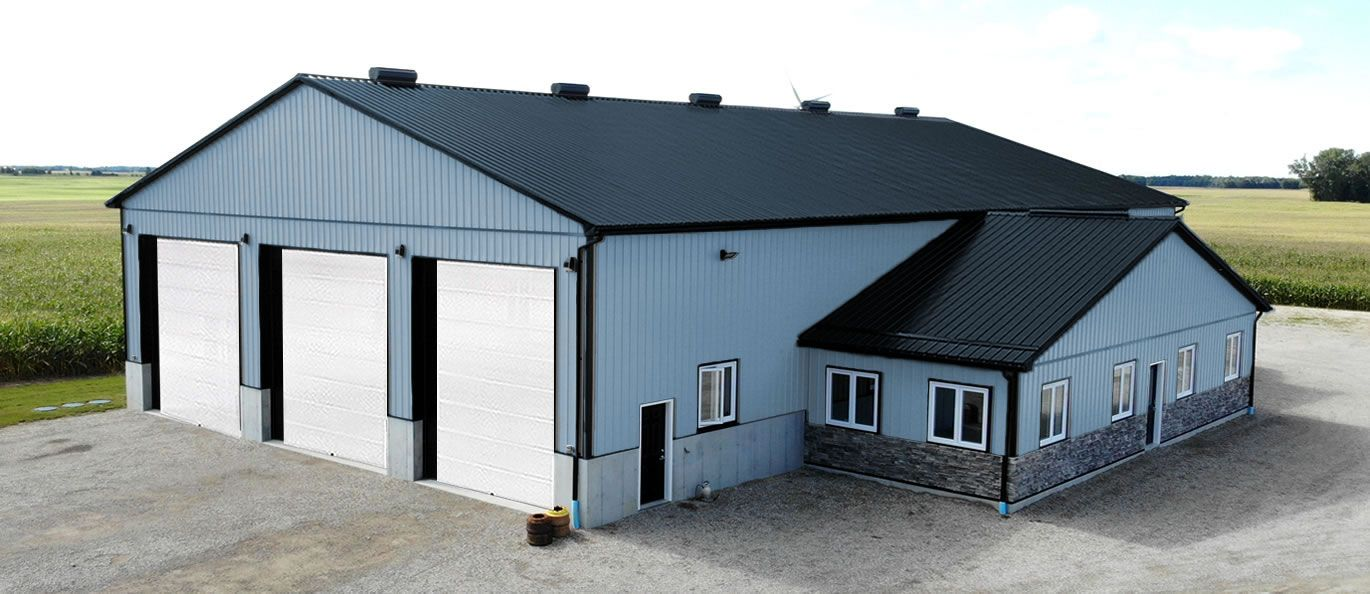 roof: black - siding: blue - doors: white