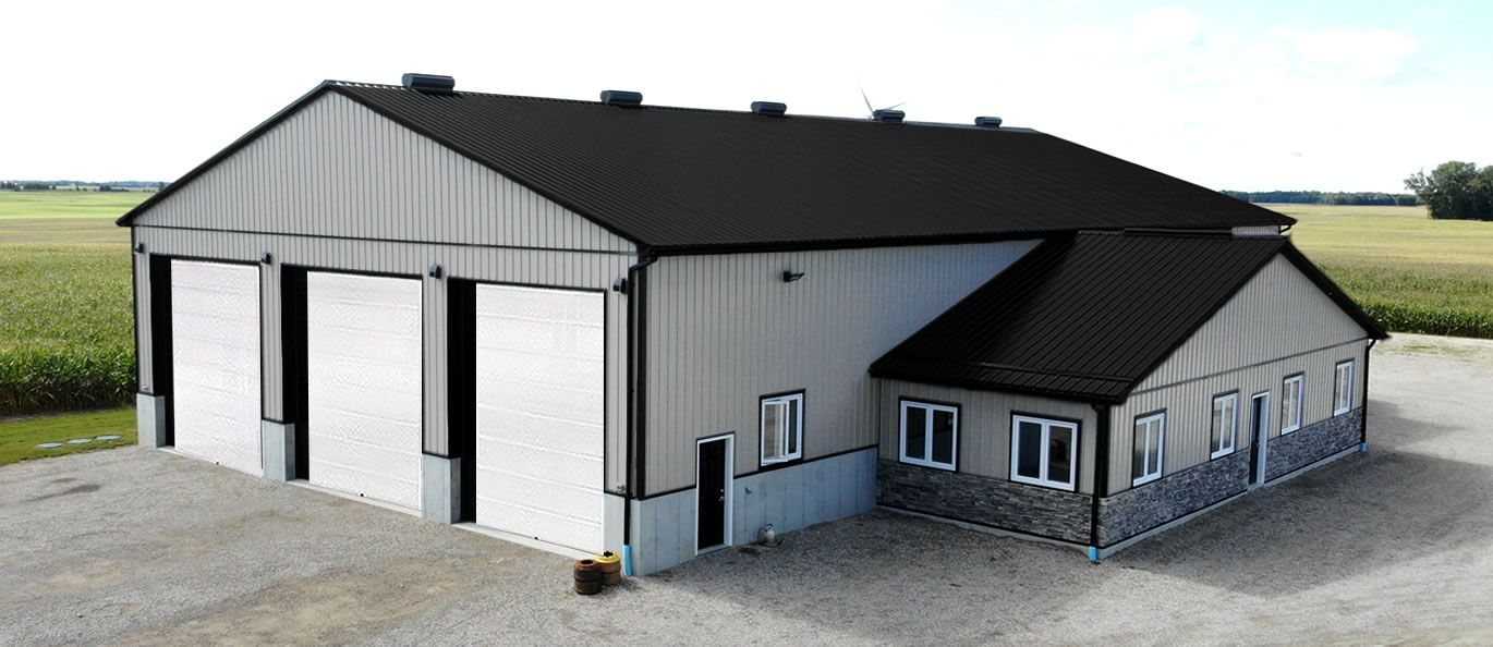 roof: midnight black - siding: grey - doors: white