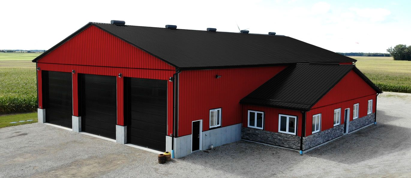 roof: midnight black - siding: crimson red - doors: black