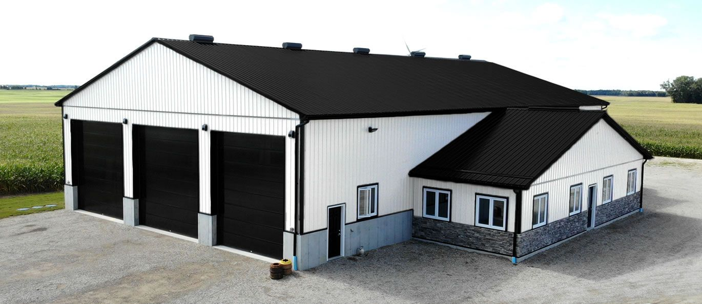 roof: midnight black - siding: bright white - doors: black