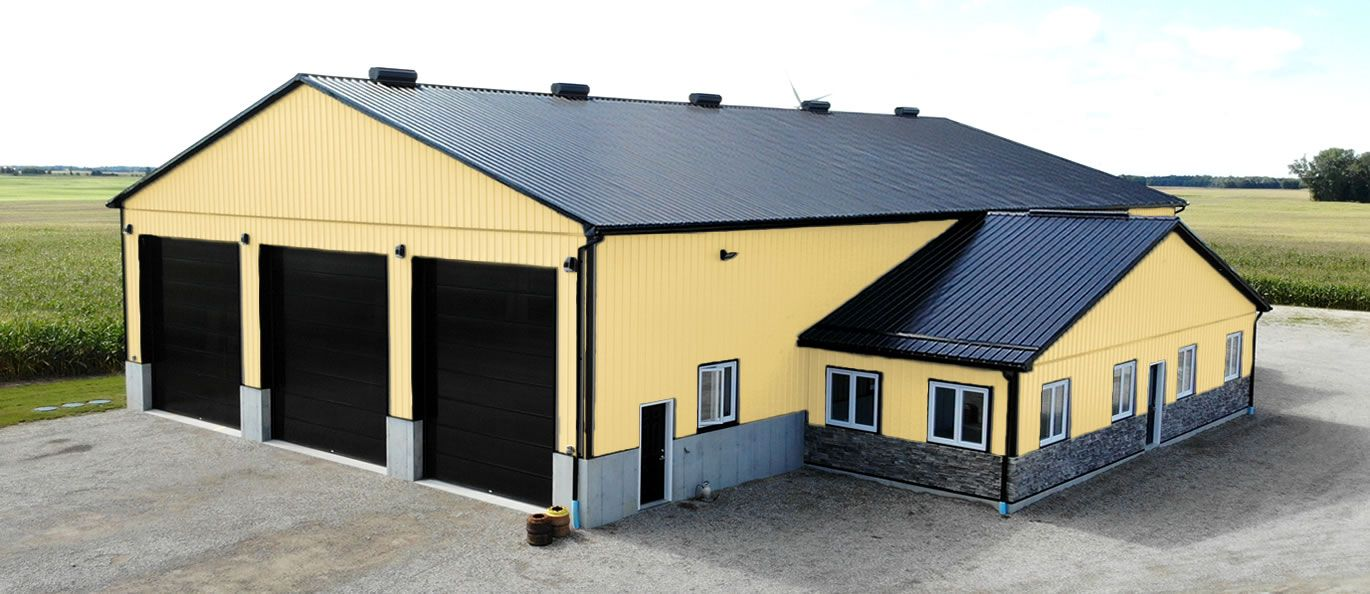 roof: black - siding:gold - doors: black