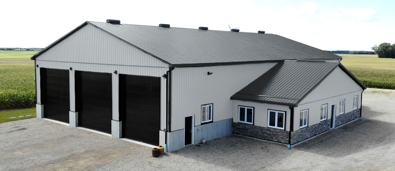 roof: black - siding: grey - doors: black