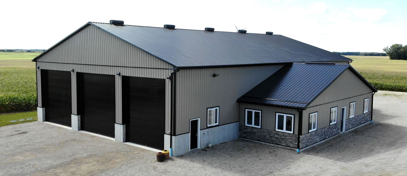 roof: black - siding: charcoal - doors: black